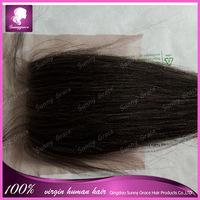 Worldwide popular unprocessed Peruvian human hair free part lace closure straight natural black virgin closure 4*4 hair pad