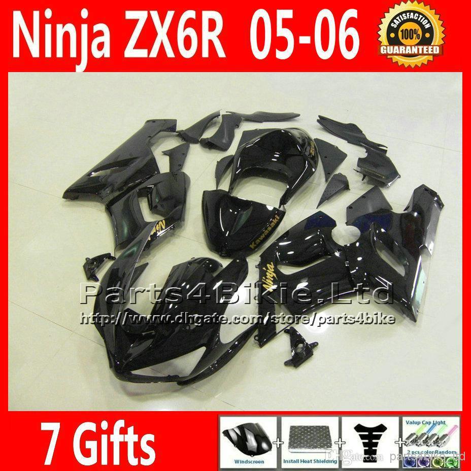 Low price fairings set for 05 06 Kawasaki ZX6R 2005 2006 636 fairing kit bodywork all glossy black NQ59 + Seat cowl(China (Mainland))