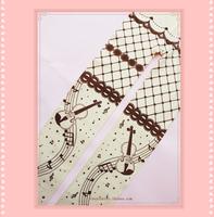 Princess sweet lolita pantyhose Original violin music note stars printed brown and ivory lace bow velvet printing pantyhose