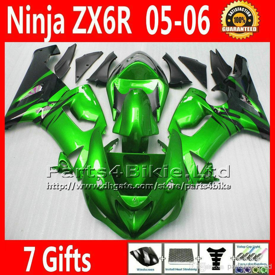 Customize green black ABS fairings set for 05 06 Kawasaki ZX6R 2005 2006 636 motorcycle fairing kit TQ1 + Seat cowl(China (Mainland))