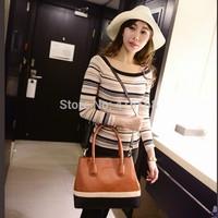 2015 new handbag hit color stripe pattern toothpick fashion trend female casual handbag shoulder bag Messenger bag free shipping