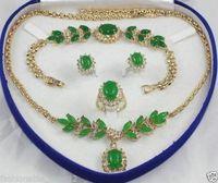 hot-set emerald jade Necklace Bracelet Ring Earring +(box)