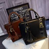 2015 new fashion women leather bag tassel handbag European  American minimalist leather shoulder bag Messenger bag free shipping