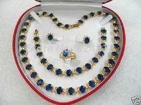women's gift aquamarine gem yellow gold Earring Bracelet Necklace Ring +box   A2