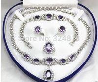 women's jewelry Purple gem 18KGP Earring Bracelet Necklace Ring no box  A2