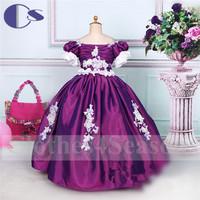 Royal Style Latest Design Handmad Applique Princess Satin Flower Girl Dress 2015 A Line Vestido De Festa Girls Party Dresses
