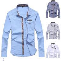 Brand Camisa Social Masculina Floral Pattern Highlight Neck Blouse Mens Designer Casual Shirts Long Sleeve 2015 Fashion LC14006