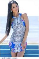 Sexy Cutout Slim Fit Print Mini Dress  LC21857