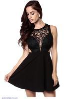 Black Crochet Hollow-out Skater Dress LC21875