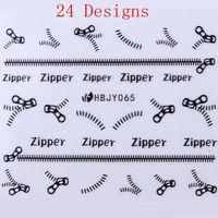 24 Designs Black Zipper / Zip Nail Art Manicure Decal DIY Decoration Adhesive HBJY 061-72