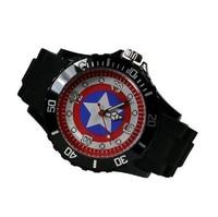 Marvel Super Hero Captain America Boy Man Metal Black Silicone Watch Wrist  Free Shipping