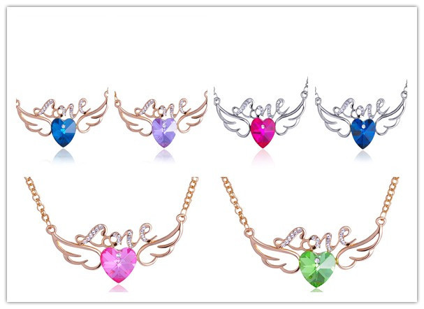 Fashion Gold Tone Angel Wing Crystal Peach Heart Charms different color Necklaces delicate crystal pendant jewelry(China (Mainland))