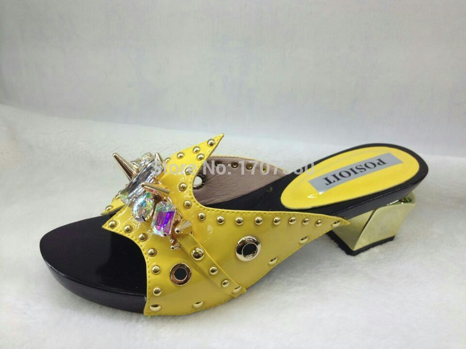 Free Shipping!! Italian yellow color shoes woman fashion nice high heel shoes leather rhinestone shoe and bag set CQ-10177(China (Mainland))