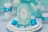 High Quality Tiffany Blue Wedding Invitation Card 185*128mm Embossment And Gold Bronzing, With Envelope, Inner Paper And Seals