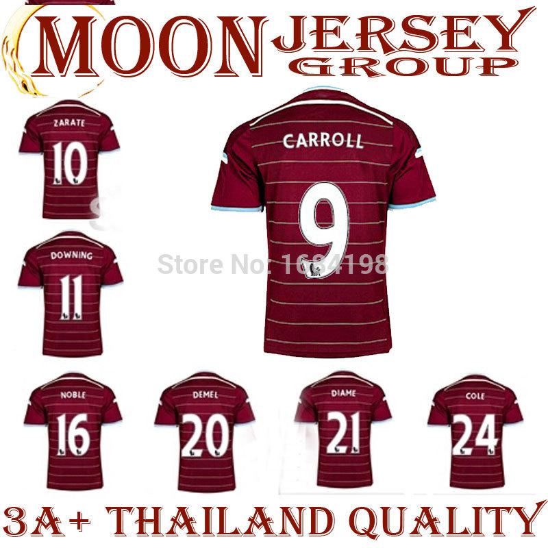 Top 3A+ Quality 14/15 West Ham HOME red jerseys #4 Nolan #9 Carroll Cole Blue Shirt 2014/2015 Cheap Soccer uniforms Football kit(China (Mainland))