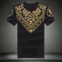 Mens T shirt Brand New Extra Large Size Golden Print Short Sleeve Tshirt 6XL 5XL 4XL