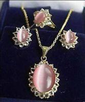 Women's Jewelry pink cat- eyes stone ring earrings necklace +(box)