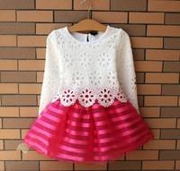 Hot Sale!2015 Summer Girl Dress Children Girls's Clothing Set Spring Long Sleeve  Party Striped White Pink Princess Dress