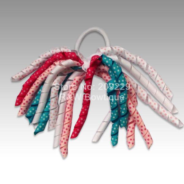 Free Shipping 50pcs/lot Spring Rainbow Korker Ponytails Elastic Hair Bands Wholesale Girls Hairbows Hairclips Headbands(China (Mainland))