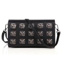 2015 women's handbag punk rivet shoulder bag cross-body small bags fashion bag for women black