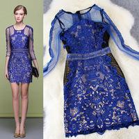 2015 New Arrival Spring Brand Women Blue Sheath Elegant Lace Mesh Summer Dress Bodycon Sexy Party Dresses  LIREN D20606