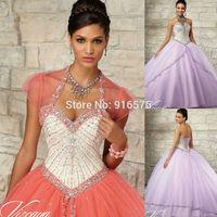 2015 Light Purple Coral Quinceanera Dress With Floor-length Hemline Jacket Overlay Stones Beading Long