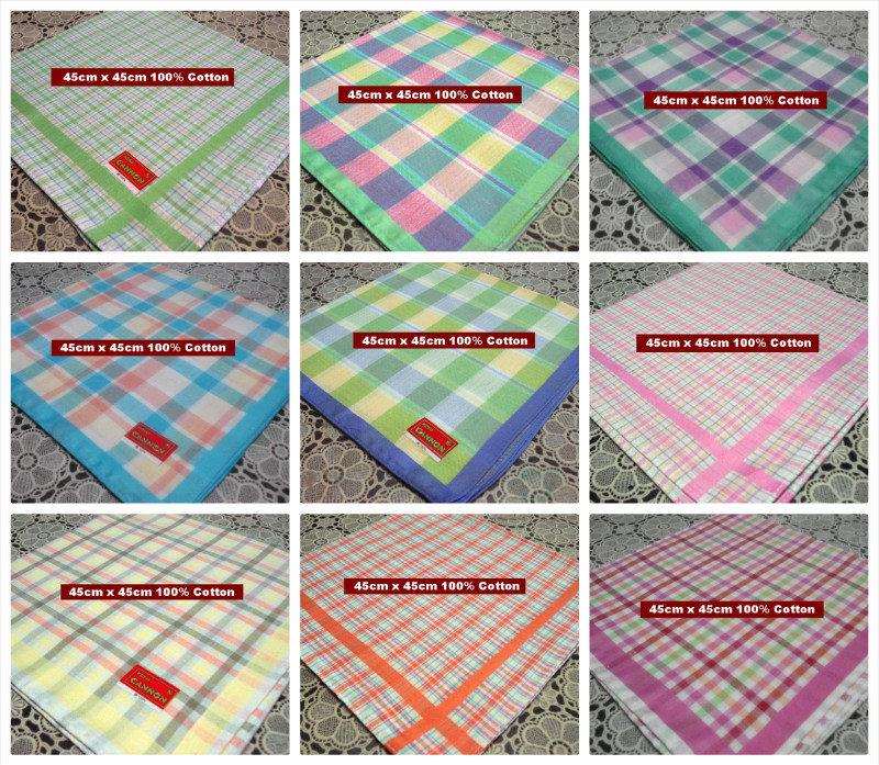 12 pieces / one dozen large size 45cm x 45cm checks pattern colorful 100% cotton handkerchiefs(China (Mainland))