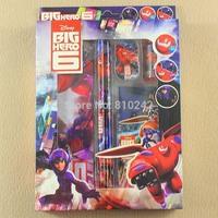 EMS Free Big Hero 6 Baymax School Stationery Set for notebook,2 pencils,1 pencil sharpener , 1 erasers, 1 pencil box / 20 sets