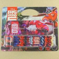 New Cartoon Big Hero 6 Baymax Pencil Set stationery School Gifts 10sets/lot for colour pencil,pencil box,sharpener Drawing