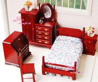 1:12 Dollhouse Miniature Dark Red Bedroom Dresser Chair Wardrobe 5PCS Furniture Sleeping Room