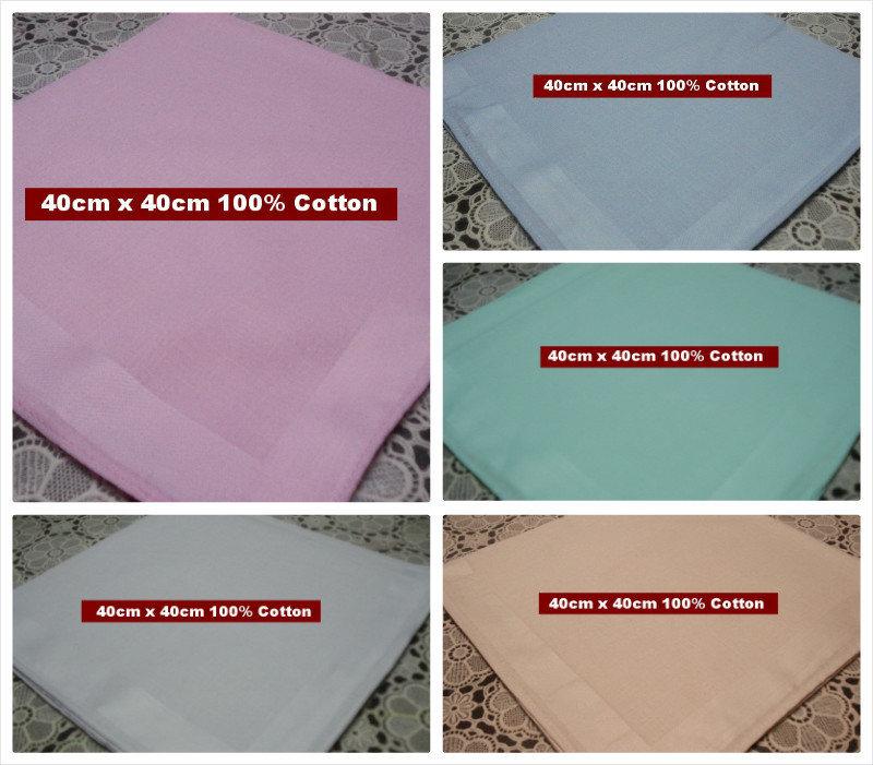 6 pieces / Half Dozen different solid color large size 40cm x 40cm 100% cotton handkerchiefs(China (Mainland))