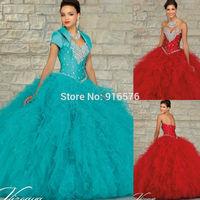 Ruffled Ballgown red Quinceanera Dresses 2015 Dark Turquoise Dress With Rhinestones Matching Jacket