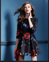 2015 Spring new style europe and the United States cultivate one's morality show thin printed dresses 0283