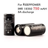 2pcs/lot Keeppower IMR 18350 battery 750mAh 3.7V high drain 15A discharge