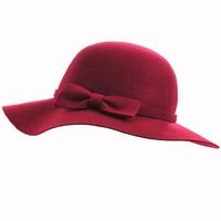 Wholesale 6pcs/Lot NEW Women Winter Floppy Brim Wool Hats Ladies Autumn Wide Brimmed Felt Cap W/Bowknot Lady Spring Trilby Hat