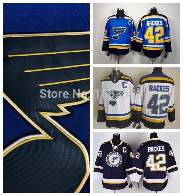 David Backes Jersey 2015 St.louis Blues Jersey Backes hockey jerseys cheap #42 Wholesale St. louis White Blue Stitched(China (Mainland))