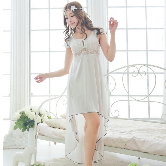 Free shipping women White lace sexy nightdress girls pajamas plus size Large size Sleepwear nightgown night dress skirt M1810-1(China (Mainland))