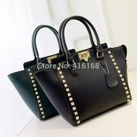 Fashion 2015 women's fashion genuine leather handbag rivet bag shoulder bag fashion handbag messenger bag