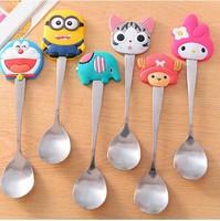 Silica gel handle stainless steel spoon fashion cartoon spoon coffee stirring spoon