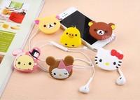 High quality relaxed bear earphones cable winder  Cute cartoon Animal Bobbin winder Band clip 6855 al