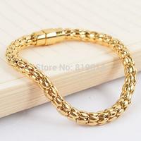 316L Stainless steel Corn chain bracelet  magnet buckle gold bracelet Wristband