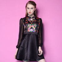 2015 New Arrival Spring Women Full Sleeve Floral Print Dress Stand Neck A-Line Work Office Sexy  Party Dresses  LIREN D02106