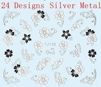 24 Designs Flower Nail Art Stickers 3D Black Silver White Decal  Wrap Metallic TJ133-156
