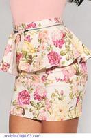 new   wholesale clothing women,Ivory Black Multi-Color Floral print Pencil Skirts Peplum women mini skirt saias femininas