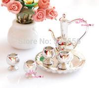 Quality SILVER Golden Metal Wine Dinnerware Plate 4 Cups SET 1:12 Dollhouse Miniature