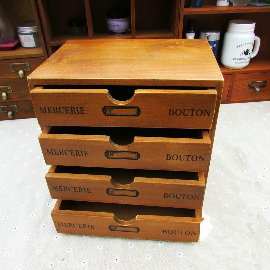 free shipping S33 Zakka solid wood Storage Box with 4 layers desktop storage box cosmetics receive ark sundries box cable box(China (Mainland))
