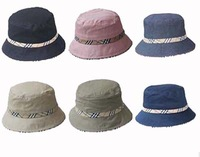 Wholesale 10pc/Lot 2015 Women Cotton Fishing Bucket Hat New Men Bucket Hats W/Plaid Band & Brim Cheap Summer Caps In Bulk China