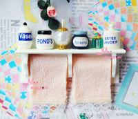 1/12 Dollhouse Miniature Shampoo bath Perfume Pink Towel Shelf set