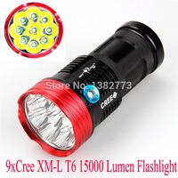 New led flashlight SKYRAY 15000Lumen 9x CREE XML 9T6 LED Flashlight Torch 3-mode Hunting Work Lamp 4*18650 battery