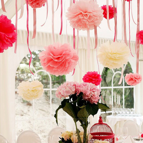 Free Shipping 1pcs 20cm(8inch) Tissue Paper Pom Poms Artificial Flowers For Decoration Decorative Flowers Paper Flowers(China (Mainland))